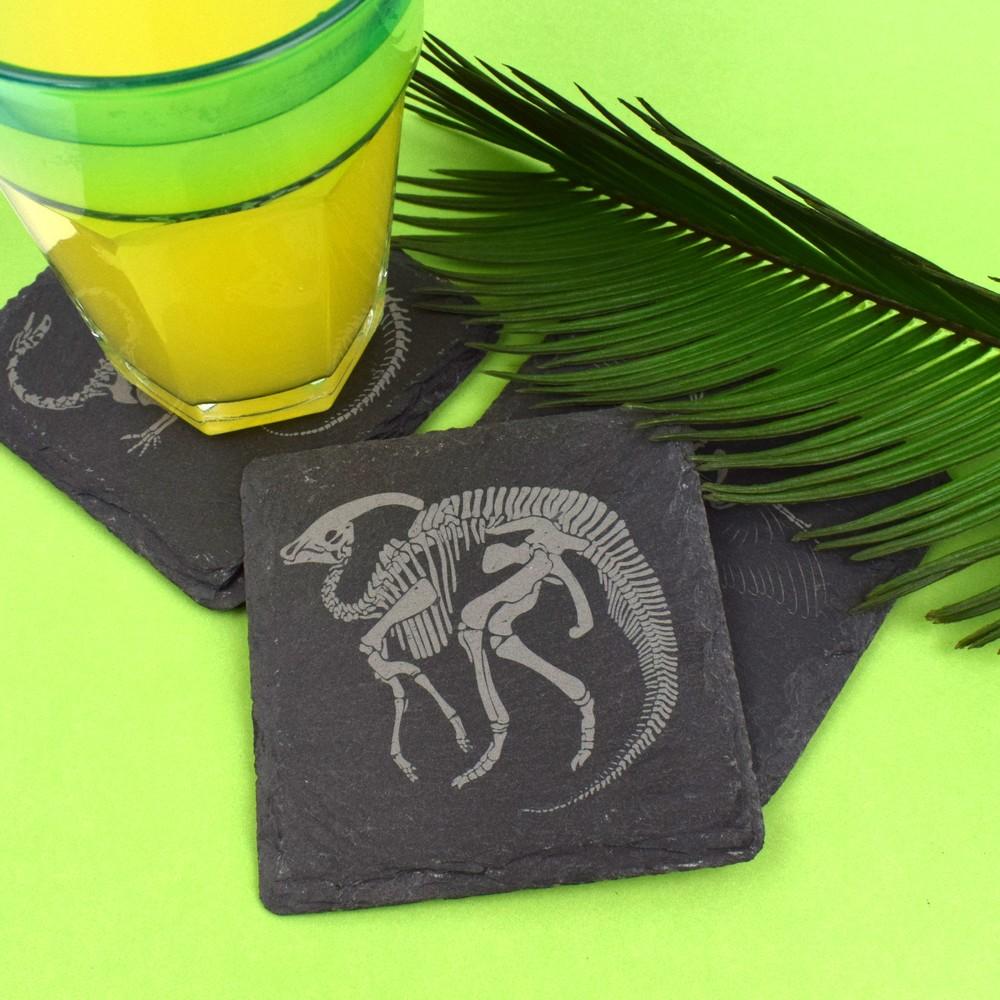 Slate Dinosaur Fossil Coasters (Parasaurolophus)