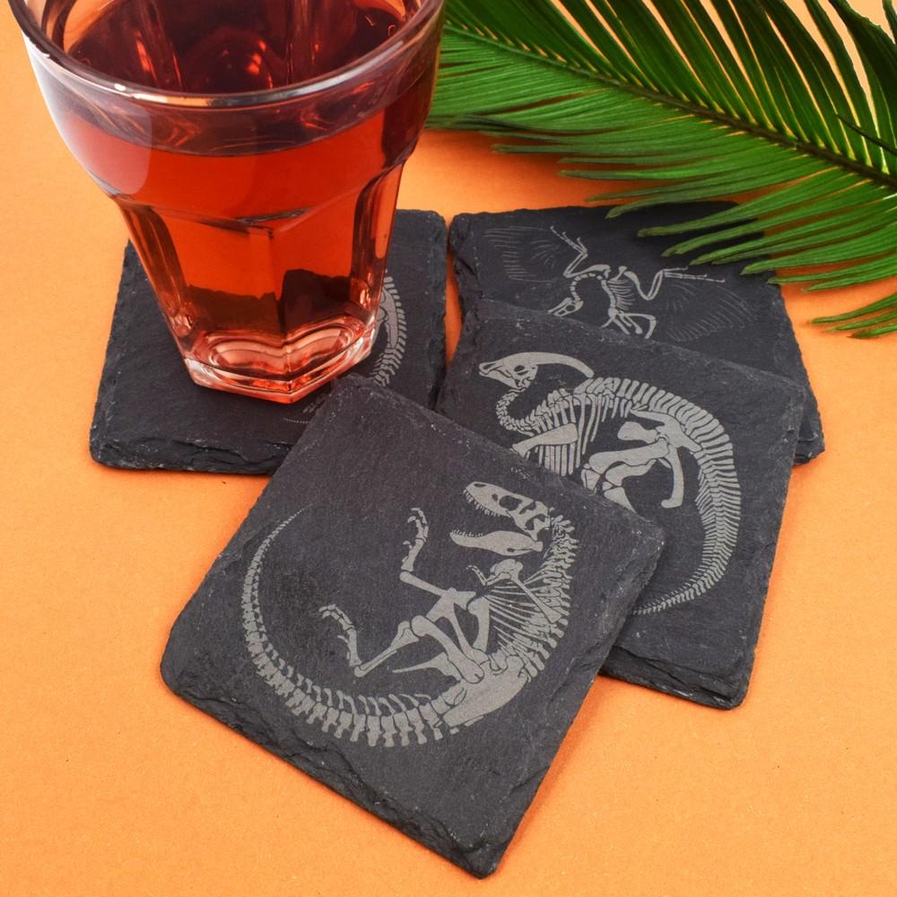 Slate Dinosaur Fossil Coasters