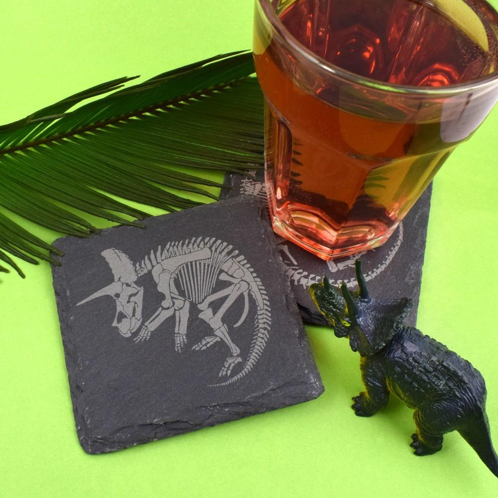 Slate Dinosaur Fossil Coasters (Triceratops)