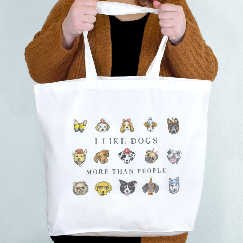 'I Like Dogs More Than People' Tote Bag